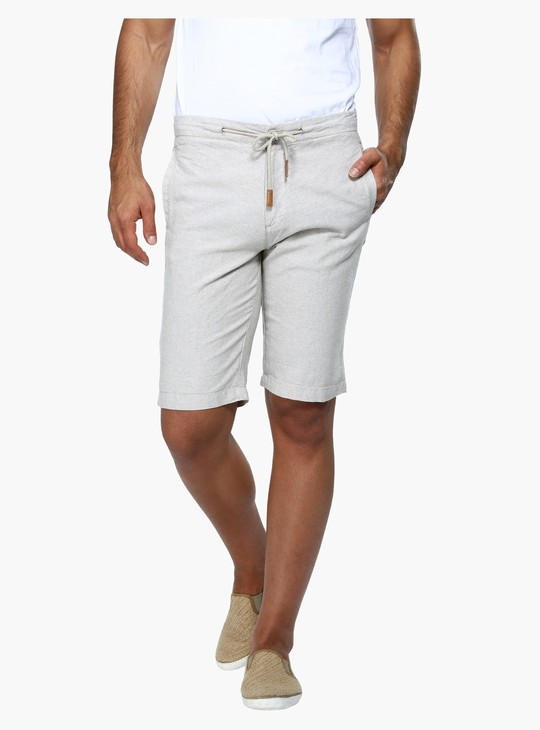 Straight Fit Mid Rise Shorts with Drawstring