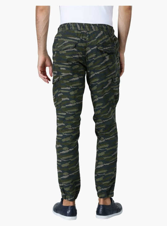 Printed Camouflage Jog Pants in Straight Fit