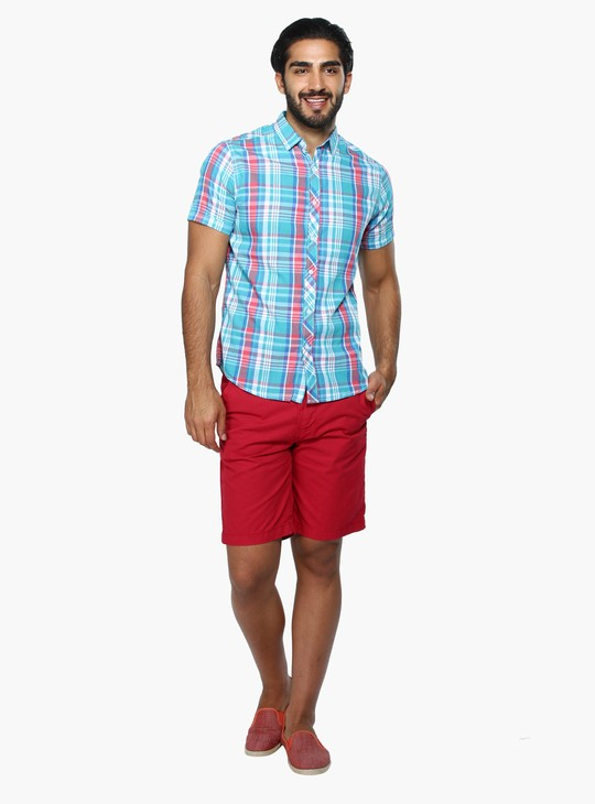 Chequered Shirt with Short Sleeves in Regular Fit