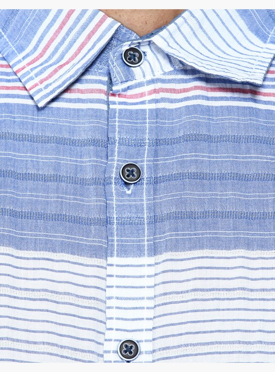 Striped Shirt with Short Sleeves in Slim Fit