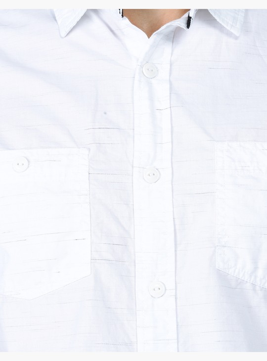 Textured Short Sleeves Shirt with Patch Pockets