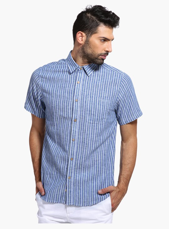 Striped Short Sleeves Shirt with Dual Pockets