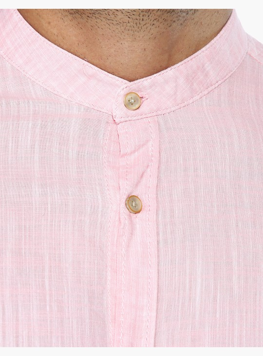 Mandarin Collar Shirt with Roll Up Sleeves