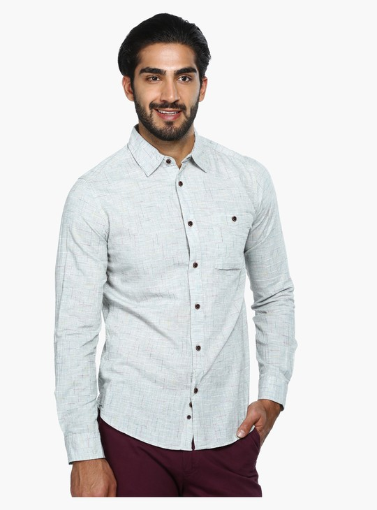 Textured Shirt with Long Sleeves in Slim Fit