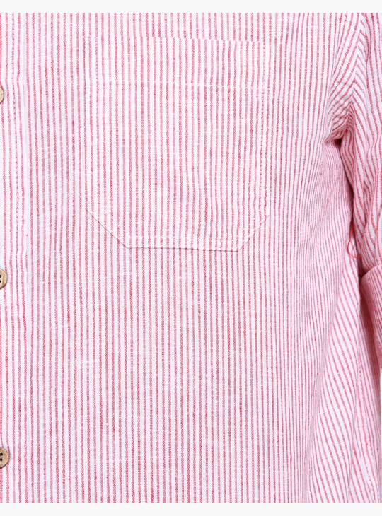 Striped Shirt with Roll Up Sleeves in Regular Fit