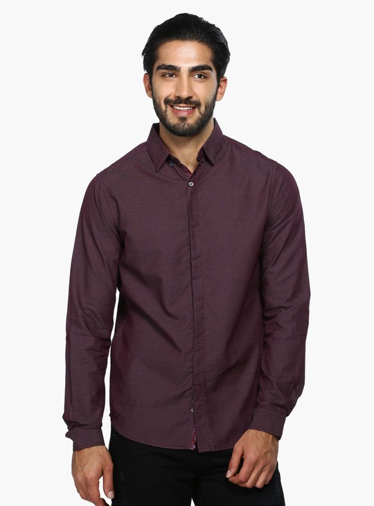 Printed Long Sleeves Shirt with Concealed Placket in Regular Fit