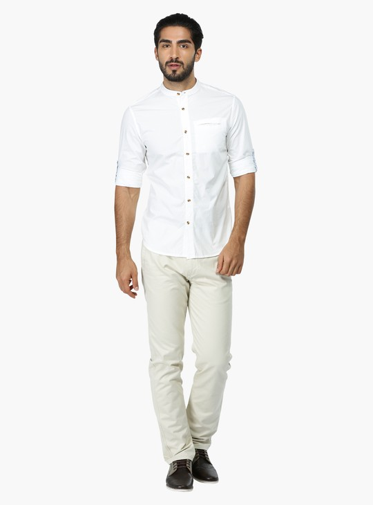 Mandarin Collar Shirt with Roll Up Sleeves in Slim Fit