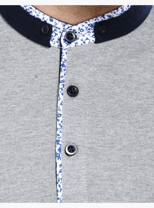 Short Sleeves Slim Fit T-Shirt with Mandarin Collar
