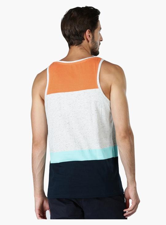 Printed Sleeveless Vest with Round Neck