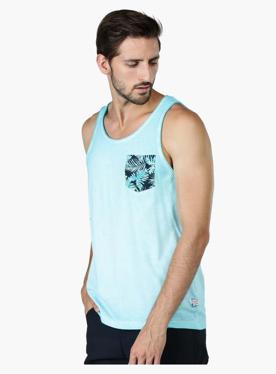Printed Sleeveless Vest with Round Neck