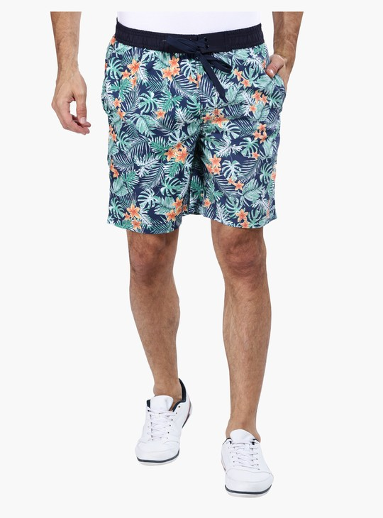 Printed Knee Length Shorts with Elastcised Waistband