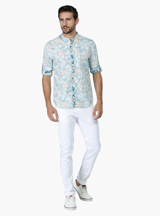Reverse Printed Long Sleeves Shirt in Slim Fit