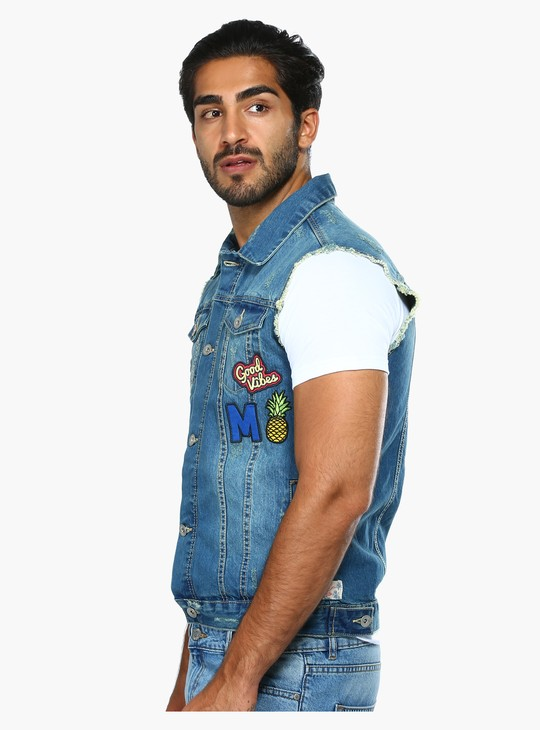 Sleeveless Denim Shirt with Complete Placket on the Front