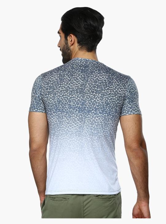 Animal Print Round Neck Short Sleeves T-Shirt in Slim Fit