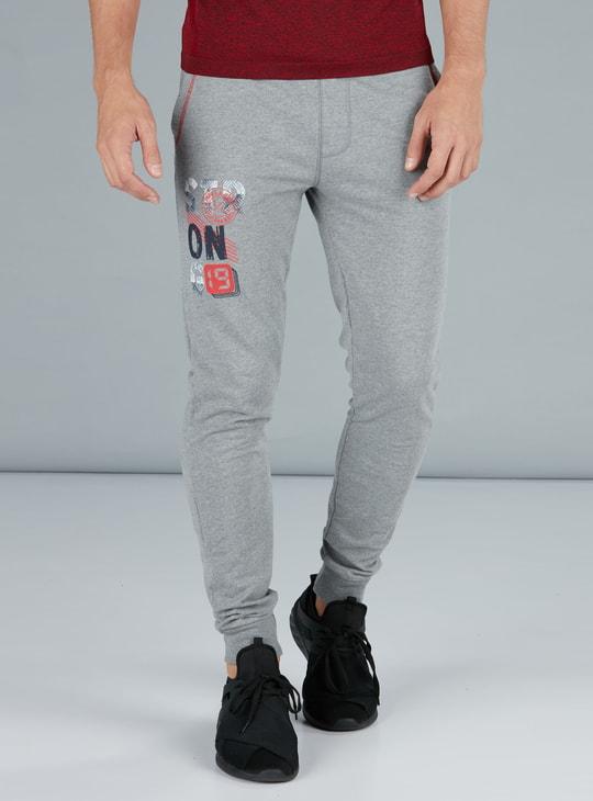 Printed Full Length Jog Pants in Regular Fit