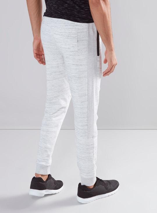 Melange Full Length Jog Pants with Pocket Detail and Drawstring
