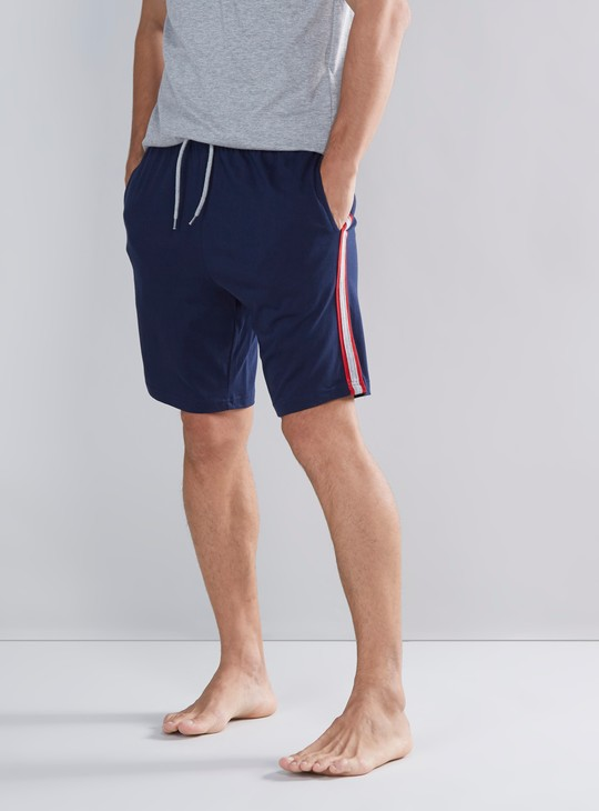 Solid Shorts with Striped Detail and Drawstring Waistband