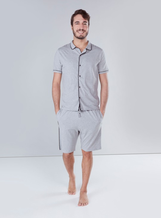 Set of Piping Detail Shirt with Shorts