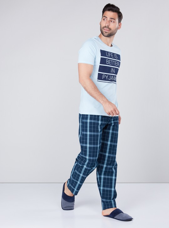 Printed T-shirt and Checked Full Length Pyjamas
