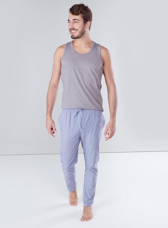 Striped Pyjamas with Pocket Detail and Drawstring