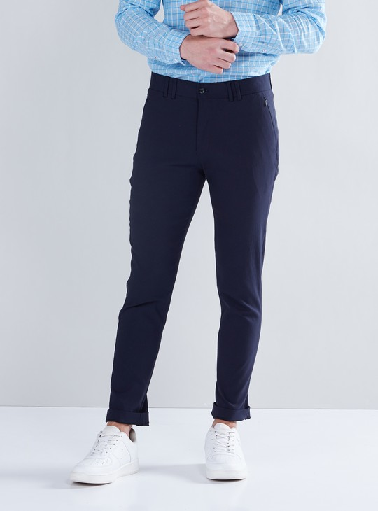 Skinny Fit Full Length Trousers with Button Closure