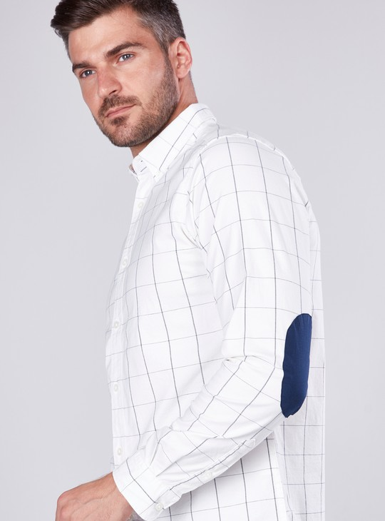 Chequered Shirt with Long Sleeves and Elbow Patch