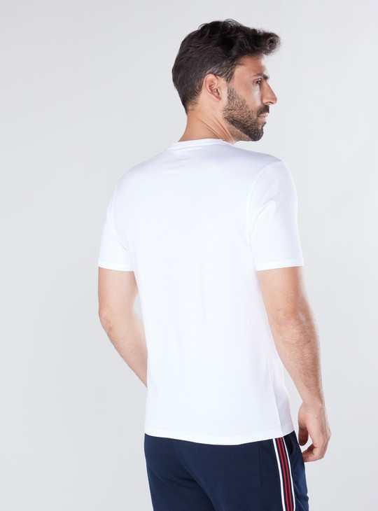 Graphic Printed T-shirt in Slim-Fit with Round Neck