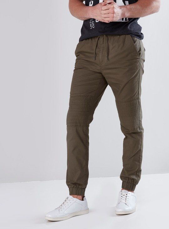 Full Length Mid-Waist Jog Pants in Slim Fit with Pocket Detail