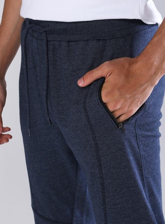 Pocket Detail Full Length Mid Waist Jog Pants in Slim Fit