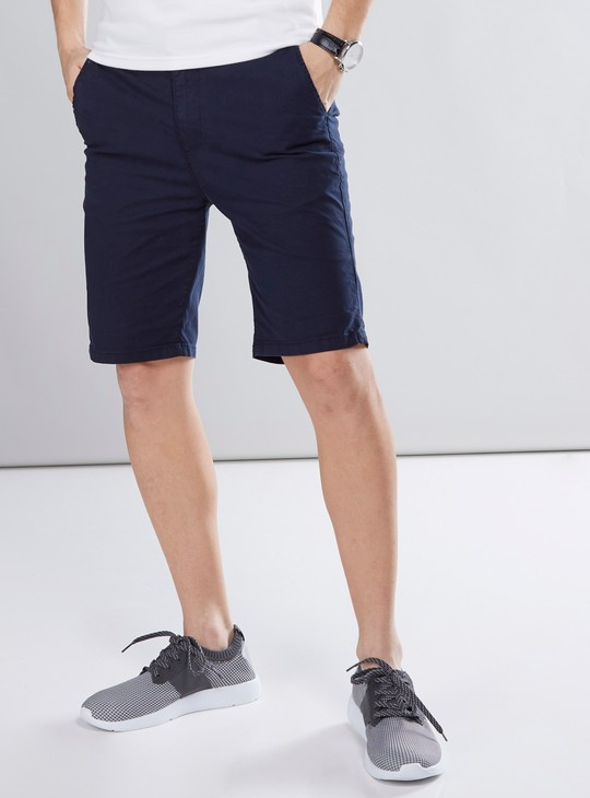 Solid Chino Shorts with 4-Pockets