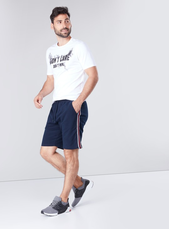 Solid Tape Detail Shorts with Drawstring Closure