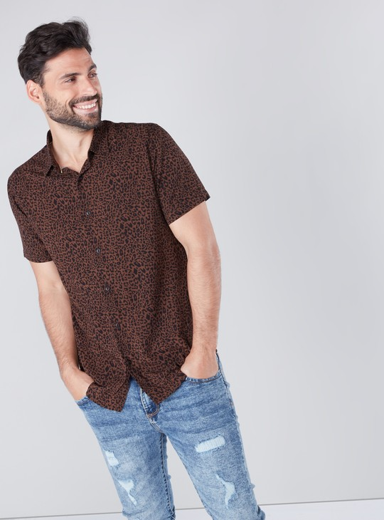 Printed Shirt in Slim Fit with Short Sleeves and Spread Collar