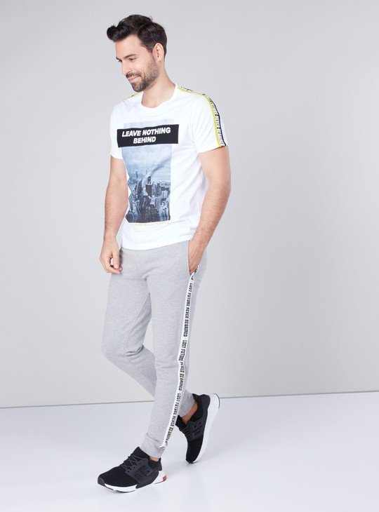 Printed Short Sleeves T-shirt with Tape Detail in Slim Fit