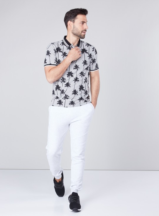 Slim Fit Printed T-shirt with Collared Neck and Short Sleeves