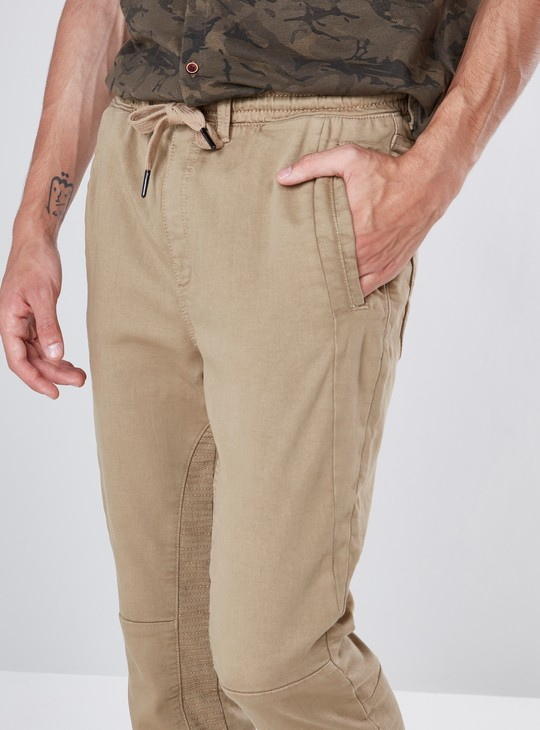 Solid Joggers with 4-Pocket and Drawstring Detail