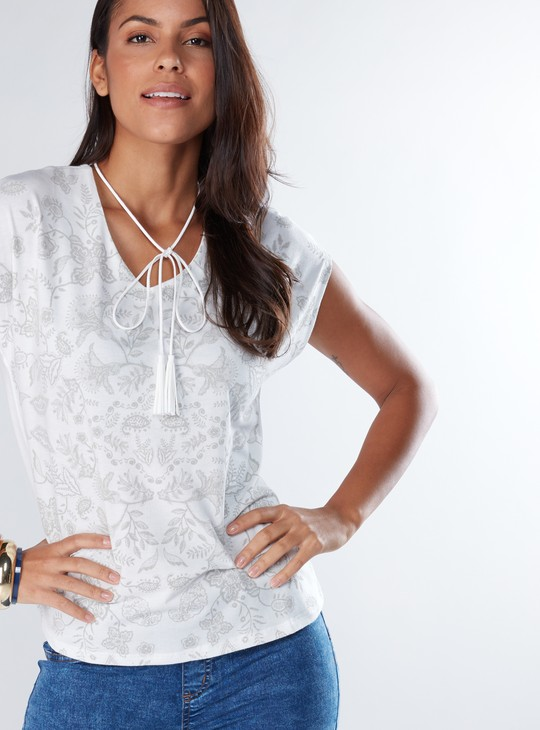 Printed Top with Extended Sleeves