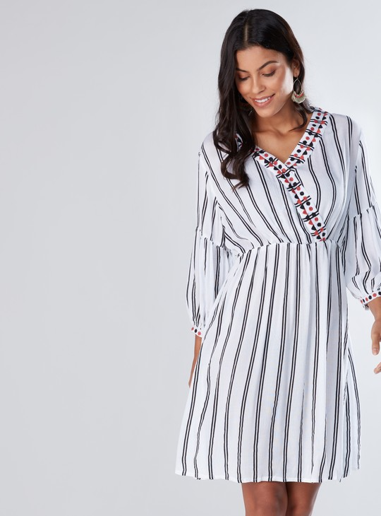 Striped Midi Dress with 3/4 Sleeves and Tie Ups