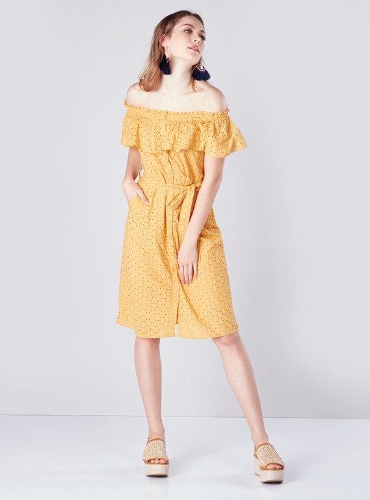 Schifly Embroidered Off-Shoulder Midi Shirt Dress with Front Knot Det