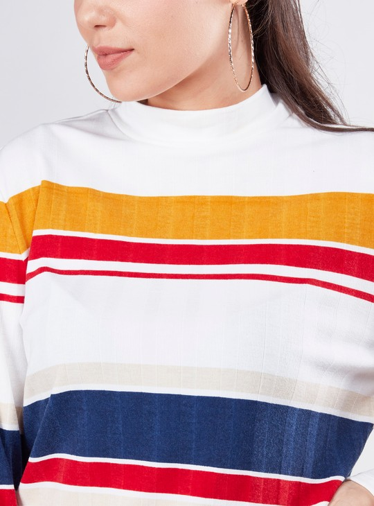 Striped Top with High Neck and Full Sleeves