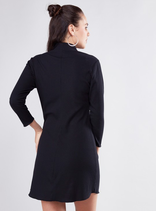 Textured Mini A-line Dress with High Neck and Long Sleeves