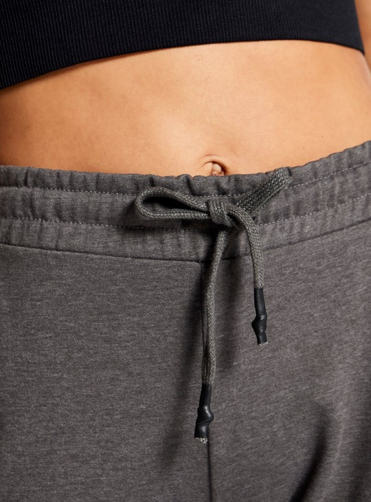 Solid Track Pants with Drawstring Closure