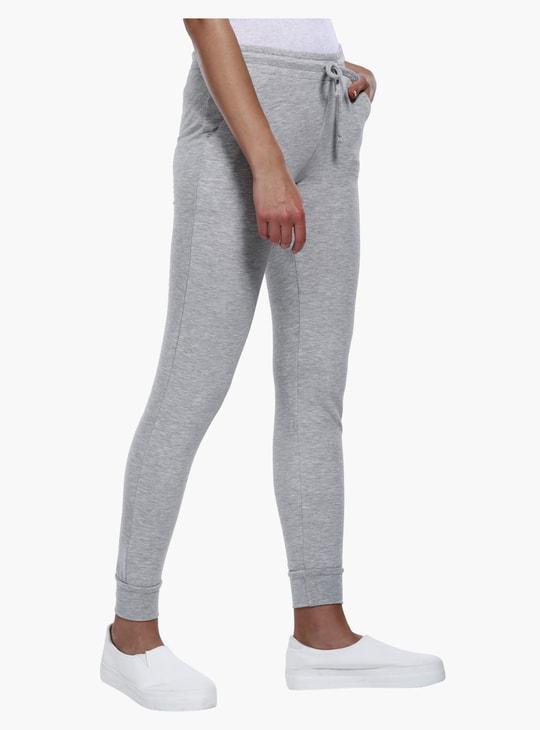Full Length Melange Jog Pants with Drawstring