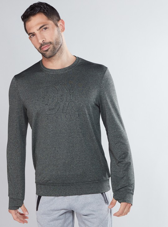 Textured Sweatshirt with Round Neck and Long Sleeves