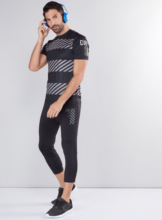 Printed 3/4 Running Tights with Elasticised Waistband