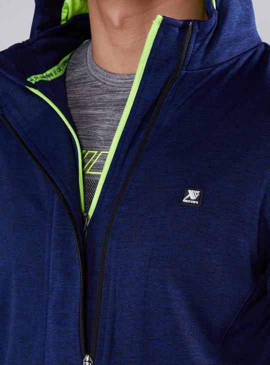 Printed Long Sleeves Jacket with Zip Closure and Hood