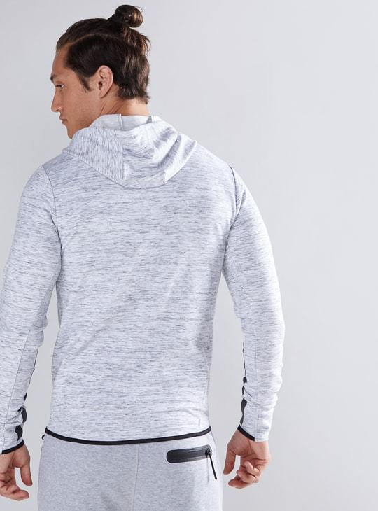 Melange Printed Jacket with Long Sleeves and Hood