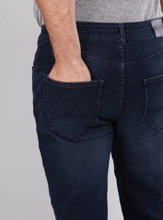 بنطال جينز طويل بتصميم ممزق وزر إغلاق وجيوب