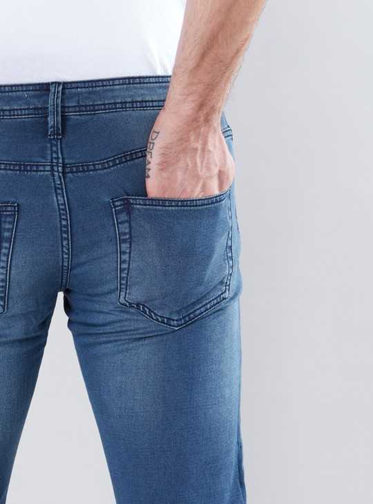 Full Length Jeans with Button Closure and Drawstring