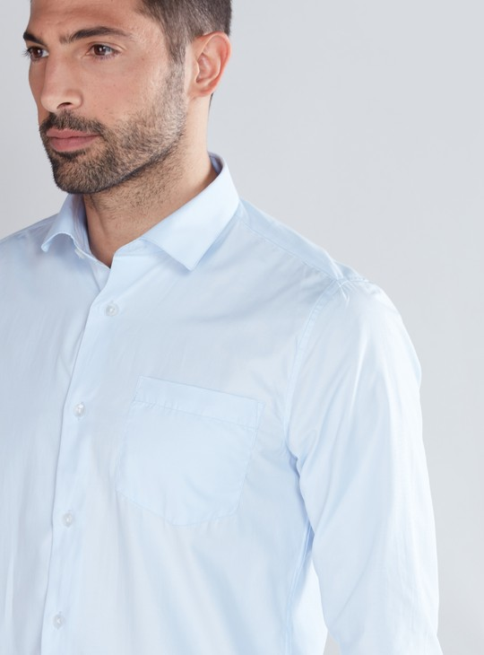 Long Sleeves Shirt with Complete Placket and Patch Pocket