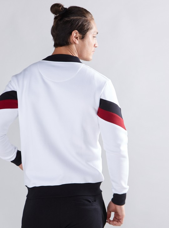 Pocket Detail Jacket with Zip Closure and Long Sleeves